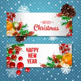 Vector holiday background with fir tree branches, ornaments and Merry Christmas letters. Hanging balls and ribbons. Isolated Chris. Vector holiday background Stock Photos