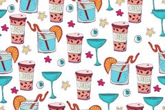 Vector holiday background. Hand drawn seamless pattern. Party stock illustration