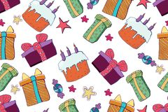 Vector holiday background. Hand drawn seamless pattern. Party royalty free illustration