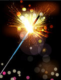 The vector holiday background with lit sparklers Royalty Free Stock Photo