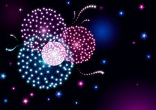 Holiday fireworks. Vector holiday background with many stars and fireworks on night dark sky Royalty Free Stock Photo