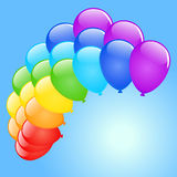 Vector holiday background. Vector holiday background with rainbow balloons Stock Images