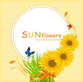 Vector holiday background with sunflowers stock illustration