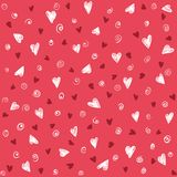 Seamless lovely pattern with hand drawing hearts. Vector holiday background. Valentine`s Day. Gift wrap, print, cloth, cute background for a card Stock Illustration