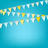 Vector holiday banner with colorful garlands of flags. Celebrati Stock Images