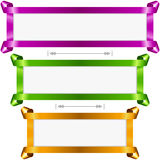 Vector holiday banners set. Purple, green and golden streamer frame. On white background Royalty Free Stock Photography