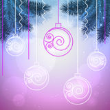 Vector holiday blue and violet background with Christmas balls. Vector holiday background with Christmas balls and fir trees in blue and violet colors Royalty Free Stock Photography