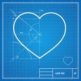 Vector Holiday Card. Heart on blueprint paper. Stock Photos