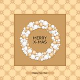 Vector christmas postcard with greeting words, winter ornament and ball wreath. design for christmas, cards, presents, cov. Vector holiday christmas postcard Royalty Free Stock Images