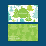 Vector holiday christmas trees vertical round. Frame pattern business cards set graphic design Royalty Free Stock Photography