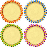 Vector holiday circle frame set. Red, blue, green and purple streamer Stock Photos