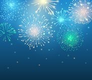 Vector holiday colorful fireworks on the blue background. Sparkle lights for design festive posters and banners. File contains clipping mask Stock Photos