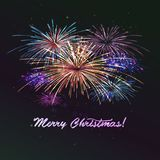 Vector holiday colour fireworks. Vector holiday colourn fireworks on the blue background. Lights for design of festive posters and banners for Merry Christmas Stock Photo