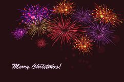 Vector holiday colour fireworks. Vector holiday colourn fireworks on the blue background. Lights for design of festive posters and banners for Merry Christmas Royalty Free Stock Image