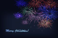 Vector holiday colour fireworks. Vector holiday colourn fireworks on the blue background. Lights for design of festive posters and banners for Merry Christmas Stock Image