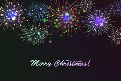 Vector holiday colour fireworks. Vector holiday colourn fireworks on the blue background. Lights for design of festive posters and banners for Merry Christmas Royalty Free Stock Photography