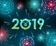 Vector holiday festival blue firework. Happy new year card. 2019 stock illustration