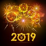 Vector holiday festival golden firework. Happy new year card 2019 Stock Illustration