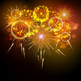 Vector holiday firework. On black background Royalty Free Stock Photo