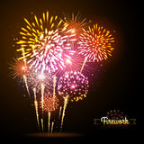 Vector holiday firework. On black background Royalty Free Stock Photos