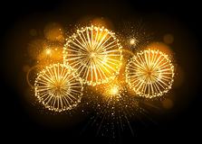 Vector holiday firework. On black background Royalty Free Stock Photography
