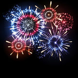 Vector holiday firework. Vector festival holiday firework on black background Stock Photo