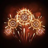 Vector holiday firework. Vector festival holiday firework on black background Royalty Free Stock Images