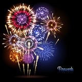 Vector holiday firework. Vector festival holiday firework on black background Royalty Free Stock Photos
