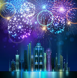Vector holiday firework and nignt city Stock Photography