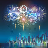 Vector holiday firework and nignt city. Vector festival holiday firework and nignt city Royalty Free Stock Image