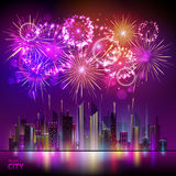 Vector holiday firework and nignt city. Vector festival holiday firework and nignt city Royalty Free Stock Images
