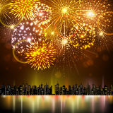 Vector holiday firework and nignt city. Vector festival holiday firework and nignt city Stock Photo