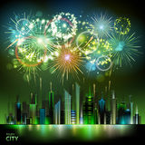 Vector holiday firework and nignt city. Vector holiday festival firework on black background Royalty Free Stock Photo