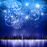 Vector holiday firework and nignt city. Vector holiday festival firework on black background Royalty Free Stock Images