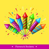 Vector holiday firework. Set of colorful rockets or firecrackers Royalty Free Stock Photo
