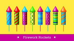 Vector holiday firework. Set of colorful rockets or firecrackers. Holiday firework. Independence day of America Stock Photo