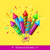 Vector holiday firework. Set of colorful rockets or firecrackers Royalty Free Stock Photography