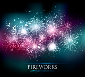 Vector Holiday Fireworks Background Stock Images