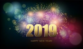 Vector Holiday Fireworks Background. Happy New Year. 2019 Royalty Free Stock Image