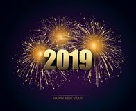 Vector Holiday Fireworks Background. Happy New Year. 2019 royalty free illustration