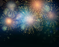 Vector Holiday Fireworks Background Stock Photos