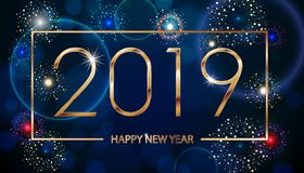 Vector Holiday Fireworks Background. Happy New Year 2019. Seasons greetings, colorful fireworks text design. Vector. Illustration EPS 10 vector illustration