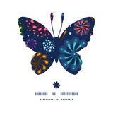 Vector holiday fireworks butterfly silhouette. Pattern frame graphic design Royalty Free Stock Photo