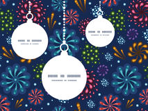 Vector holiday fireworks Christmas ornaments. Silhouettes pattern frame card template graphic design Royalty Free Stock Photos