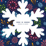 Vector holiday fireworks Christmas snowflake. Silhouette pattern frame card template graphic design Stock Image