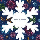 Vector holiday fireworks Christmas snowflake Stock Image