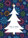 Vector holiday fireworks Christmas tree silhouette. Pattern frame card template graphic design Royalty Free Stock Image