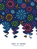 Vector holiday fireworks Christmas tree silhouette. Pattern frame card template graphic design Stock Images