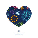 Vector holiday fireworks heart silhouette pattern. Frame graphic design Royalty Free Stock Photos