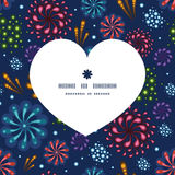Vector holiday fireworks heart silhouette pattern. Frame graphic design Royalty Free Stock Photography